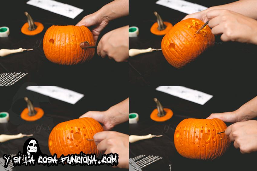 Agujeros calabaza linterna Halloween