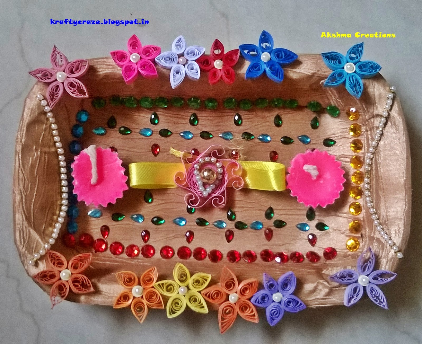 Handmade Thali/Aarti Plate & Creative Crafts and Quilling: Handmade Thali/Aarti Plate