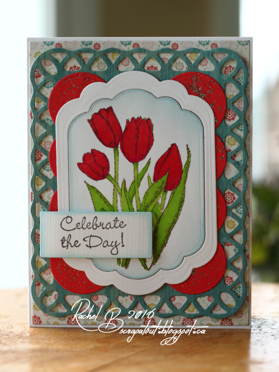 Scrapatout - Handmade card, Celebrate, Flowers, Tulips, Impression Obsession, Spellbinders