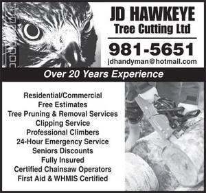 JD Hawkeye Tree Cutting Ltd yellow pages ad