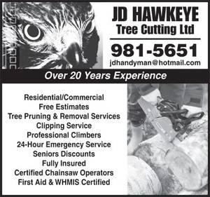 JD Hawkeye Tree Cutting Ltd yellow pages ad