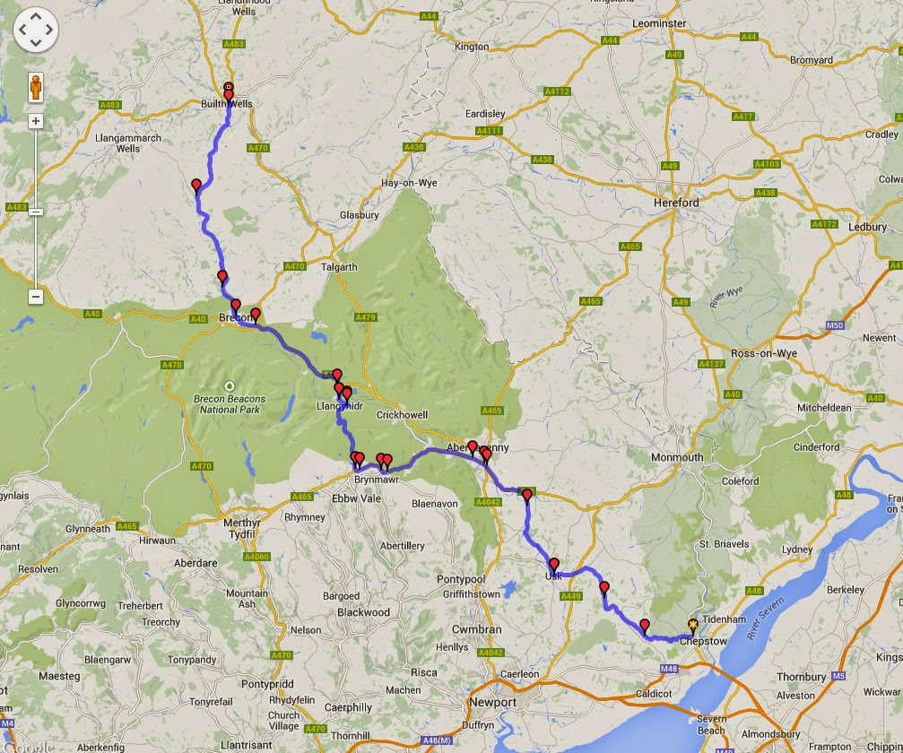 The route we took from Chepstow to Builth