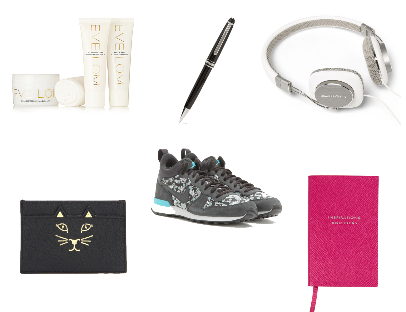cgristmas, gifts, net à porter, nike, montblanc, beauty products, smythson, charlotte olympia