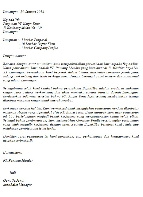 Contoh Surat Penawaran Barang/Jasa | Cara Buat Surat