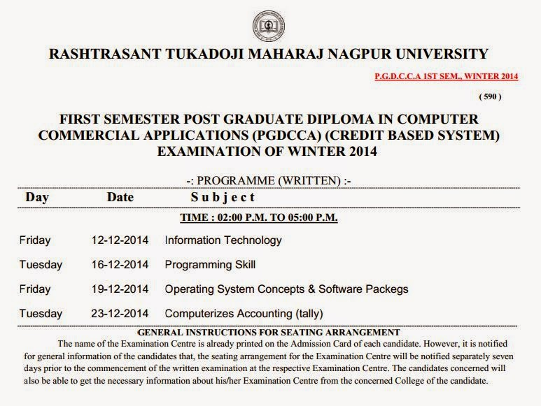 RTMNU PGDCCA TIMETABLE (CREDIT BASED SYSTEM) WINTER 2014