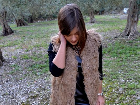 Black Short Sleeve Hollow Dress+Coat Shein