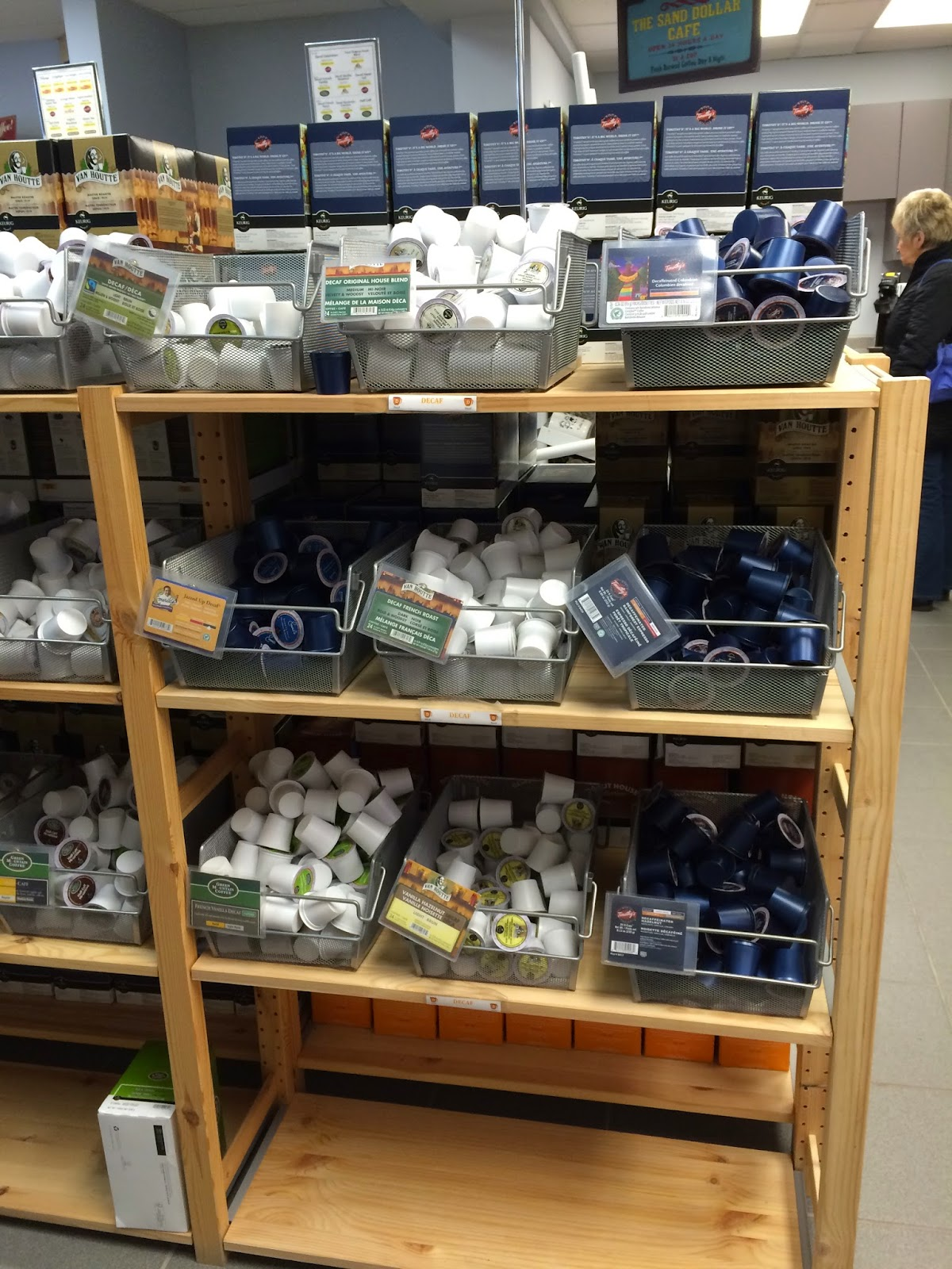 Bins of K Cups at Canada's Finest Coffee
