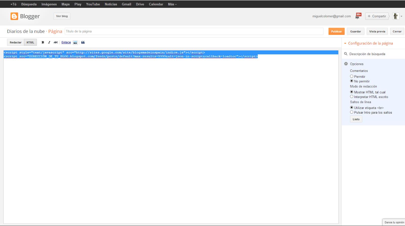 Editar el código HTML de una entrada en Blogger
