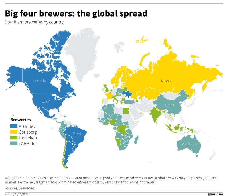 Dominant beer breweries by country