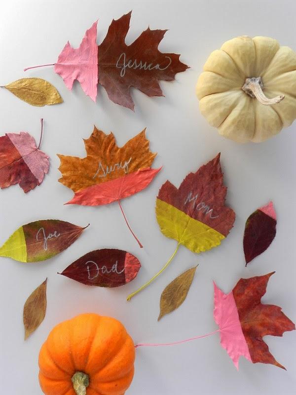Diy painted leaf place cards sas rose