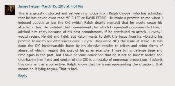 Jim Fetzer corrects Ralph Cinque's lies about his resignation as OIC chairman