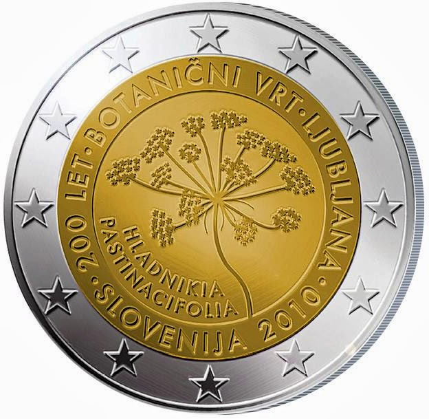 2 Euro Commemorative Coins Slovenia 2010 Botanical Garden Ljubljana