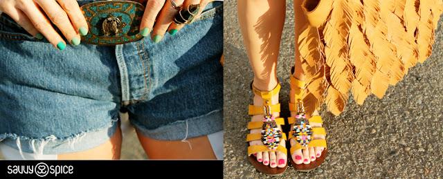 Savvy+Spice+Coachella+details,+Nine+west+sandals,+Carlos+Santana,+levis+cutoffs