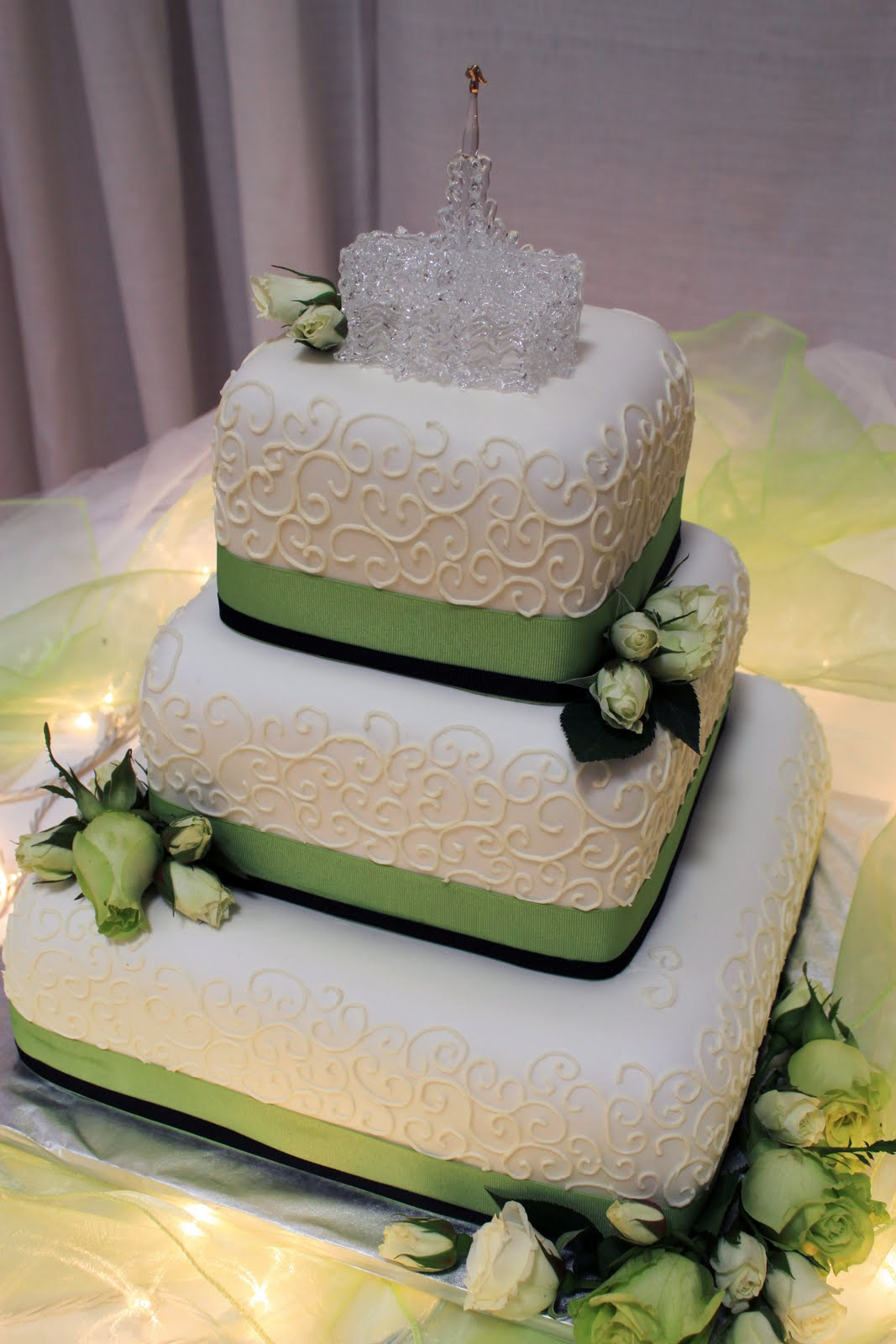 Layers Of Love Lime Green Scroll Wedding Cake