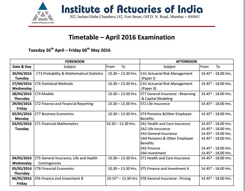 S MONK School Of Actuaries IAI April 2016 Exam Dates Declared