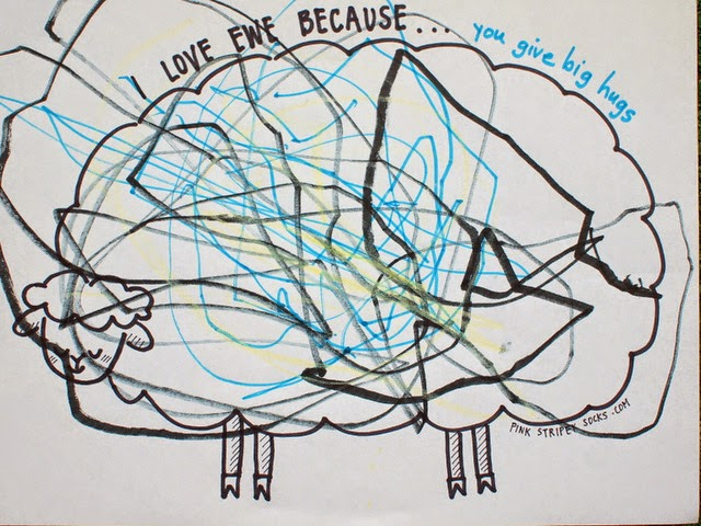 "Valentine Coloring Sheet- I Love ""ewe"" because"