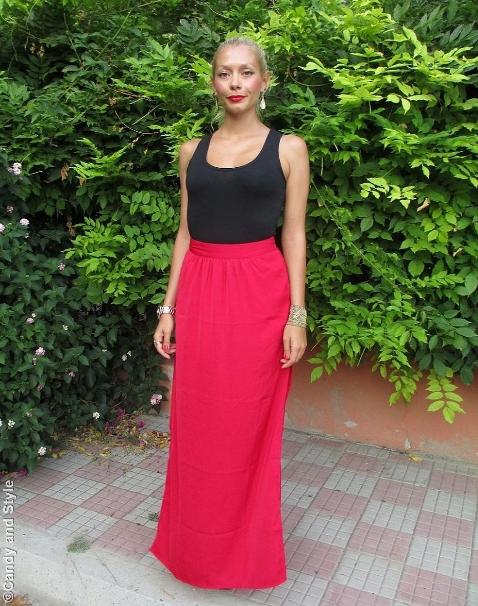 Black Tank, Red Lingerie Maxi Skirt, Sandals, Urbiana Accessories - Lilli, Candy and Style Fashion Blog