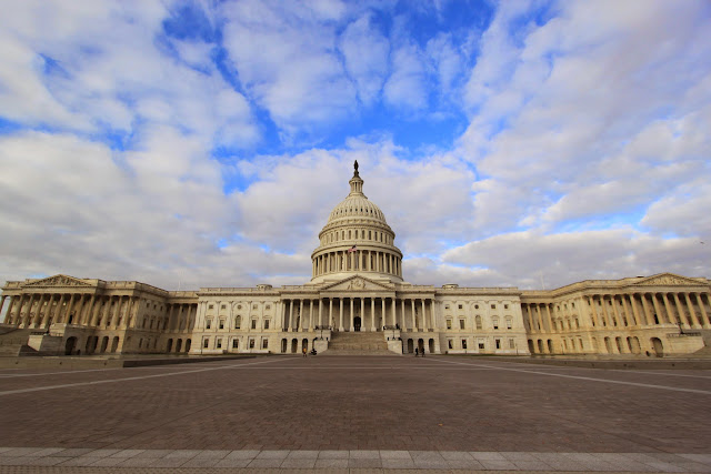 The full view of United States Capitol in Washington DC, USA
