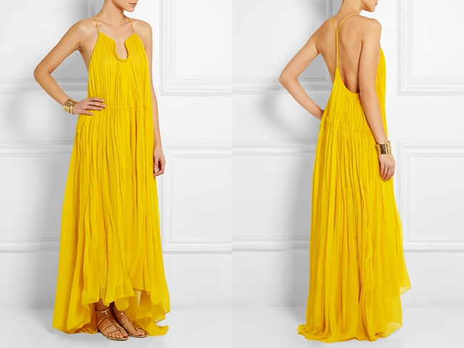 Chloé 2015 SS Yellow Crinkled Silk-Georgette Gown