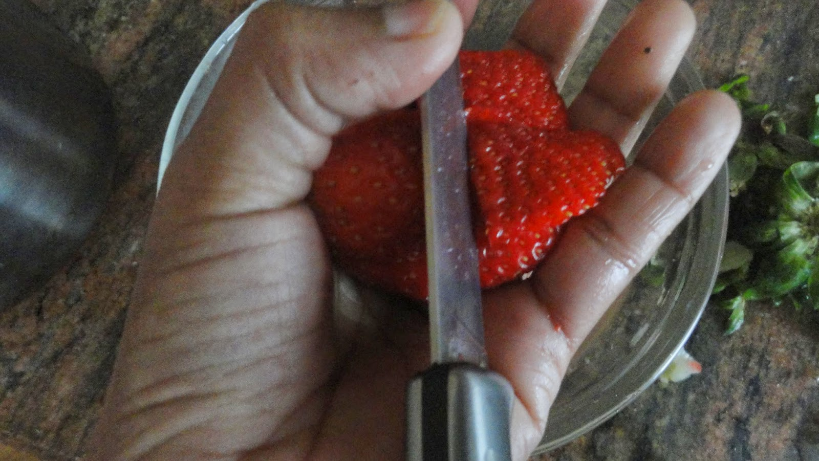 Cut the strawberry