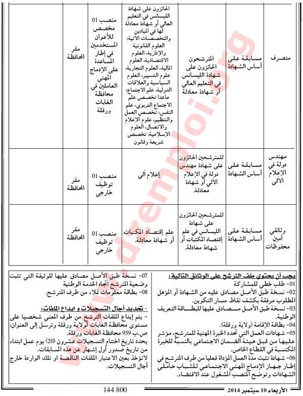 إعلان مسابقة توظيف في محافظة الغابات لولاية ورقلة سبتمبر 2014 Ouargla2.jpg