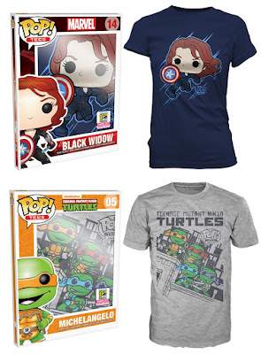 "San Diego Comic-Con 2015 Exclusive Pop! Tees by Funko – Marvel ""Black Widow Shield"" & Teenage Mutant Ninja Turtles ""Skyline Group"" T-Shirts"