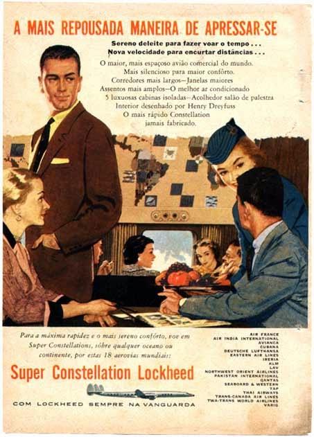 Propaganda dos anos 50 da Super Constellation Lockheed apresentando as comodidades de voar de avião naqueles tempos.