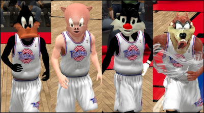 Daffy Dunk, Porky Pig, Sylvester, Taz Devil