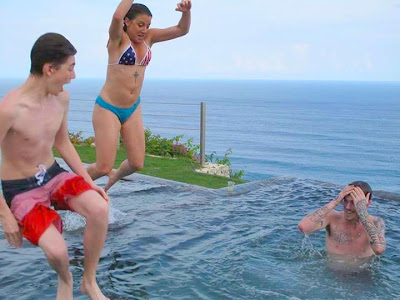 Greyson Chance shirtless at the pool in Bali - 2013