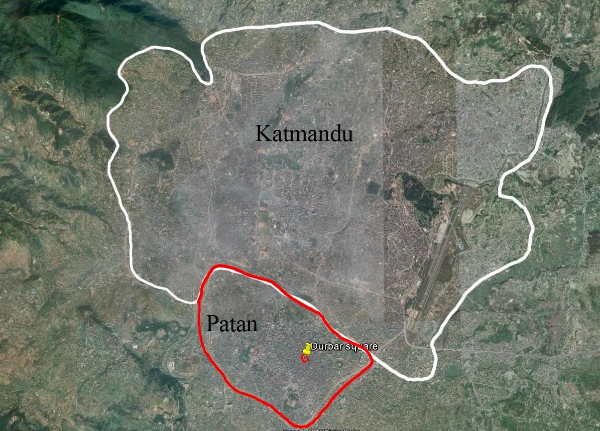 mapa de katmandú y Patan
