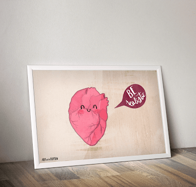 Be realistic heart illustration frame