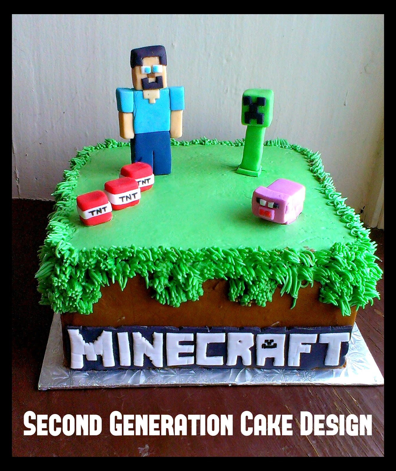 Second Generation Cake Design Minecraft Birthday Cake