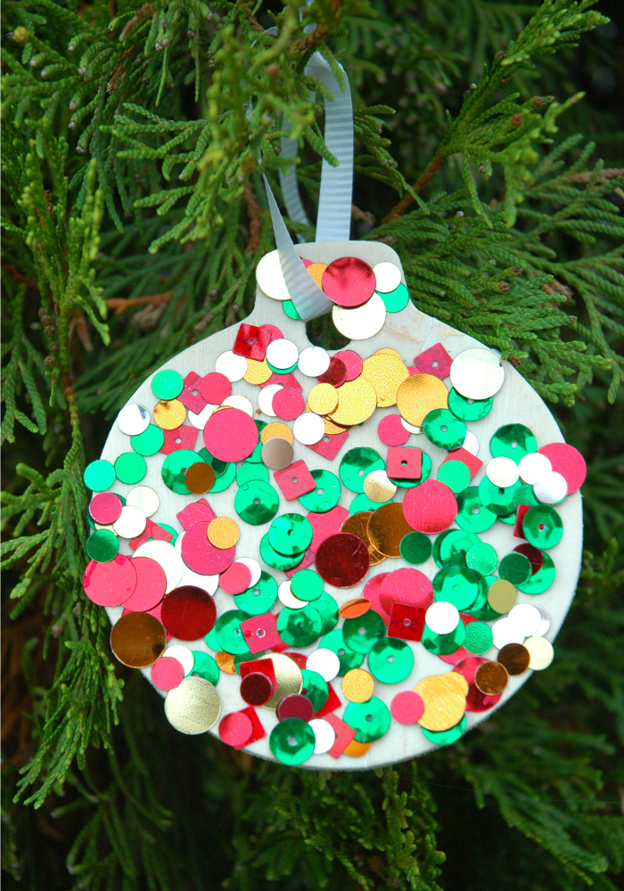 Sequin ornaments what can we do with paper and glue for Free christmas crafts for kids