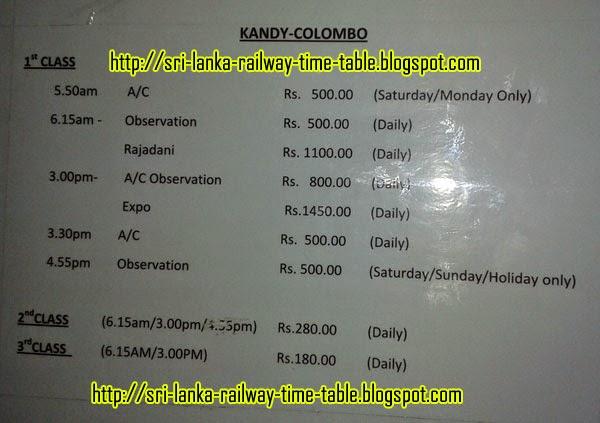 Train Schedule and Ticket Prices - Sri Lanka Railways: October 2014