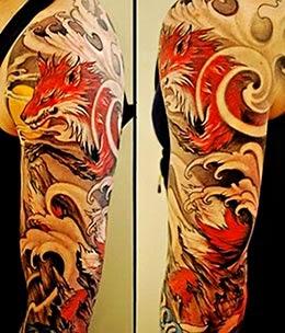 Tatuagens de lobos no braço
