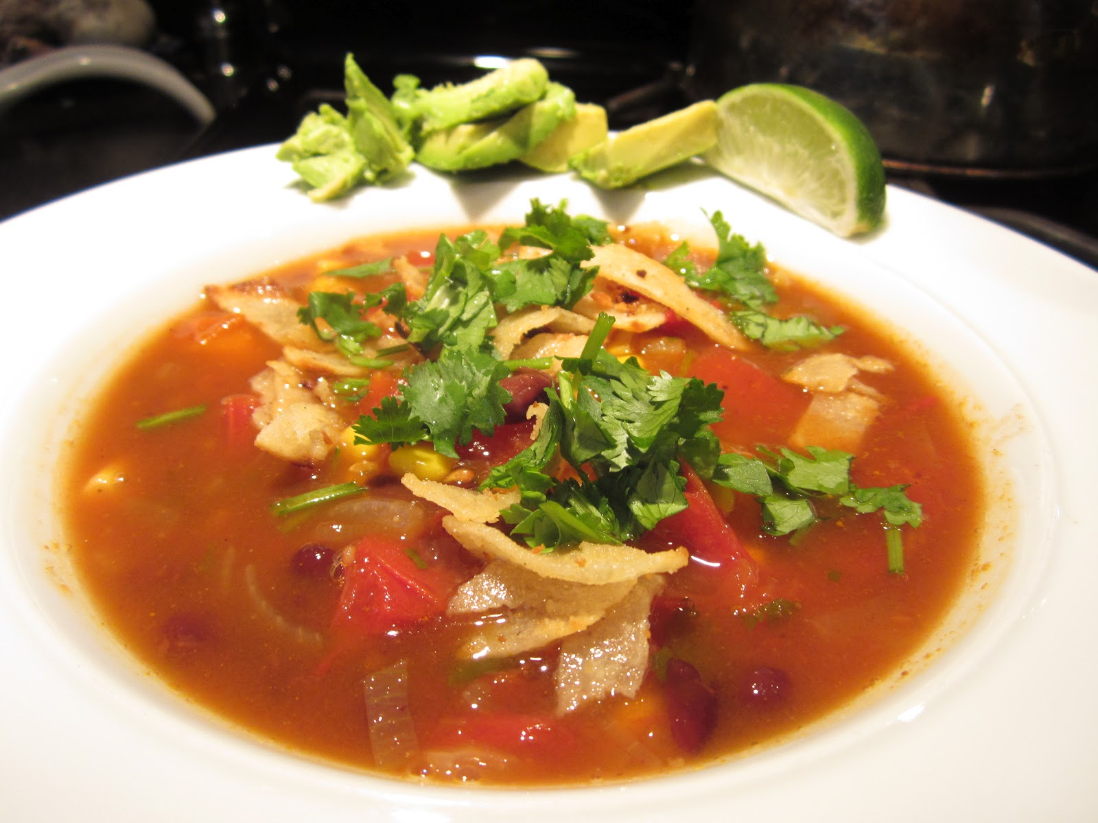 ... Kitchen {Galactosemia in PDX}: Vegan Tortilla Soup for #SundaySupper