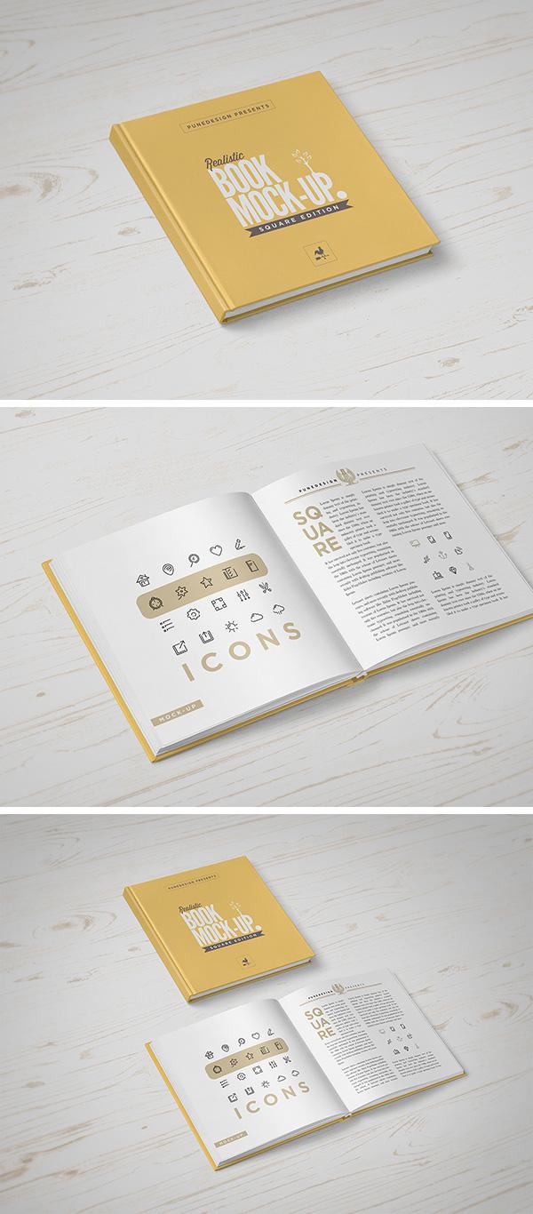 Download Gratis Mockup Majalah, Brosur, Buku, Cover - Square Book MockUp