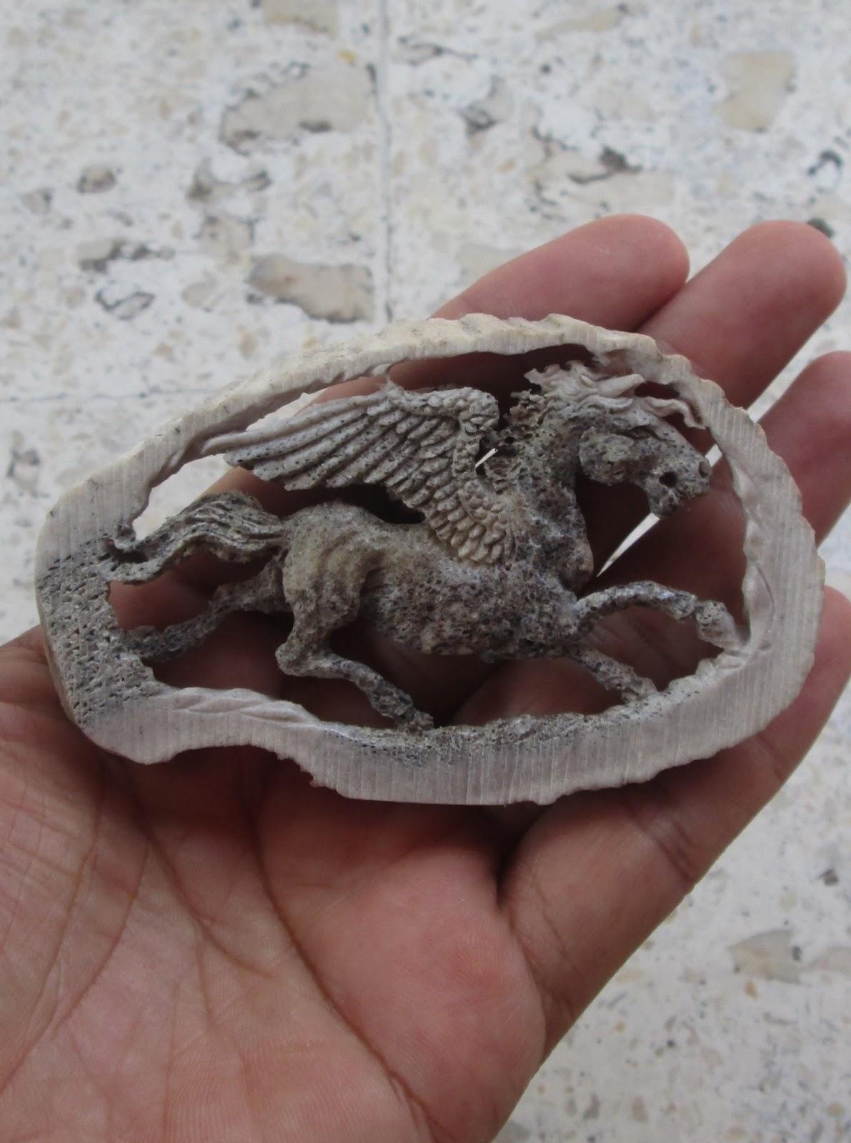 Pegasus Carved Elk Antler