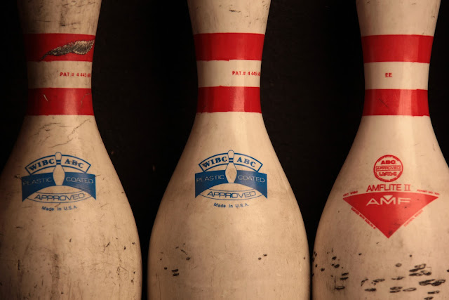Old bowling pins from the bowling alley in Golden, Colorado.