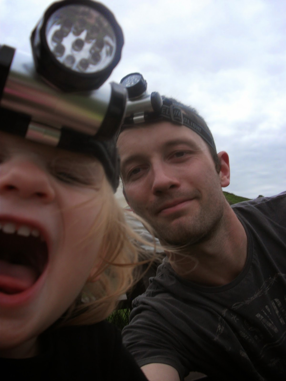 Eva and Dad, headtorch selfie #1