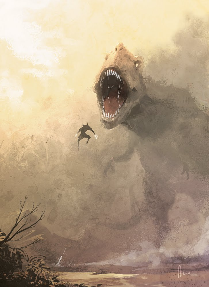 Wolverine fighting T-Rex
