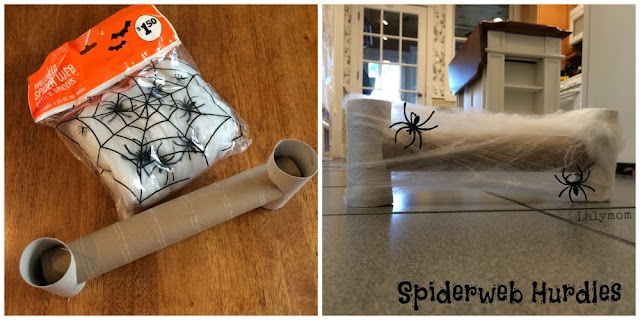 DIY Spiderweb Hurdles for Indoor Halloween Obstacle Course for Preschoolers from Lalymom