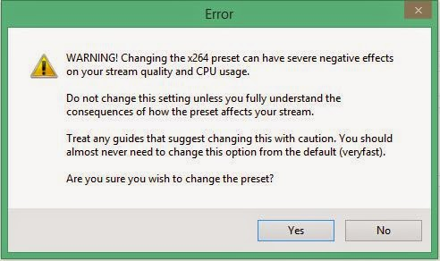 Message Error for Ultrafast Preset in Open Broadcaster Software