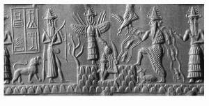 79ed30b8e17 The Sumerian god Enki with the rivers Tigris and Euphrates descending from  his shoulders