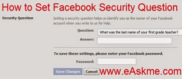How to Set Security Question on Facebook : eAskme