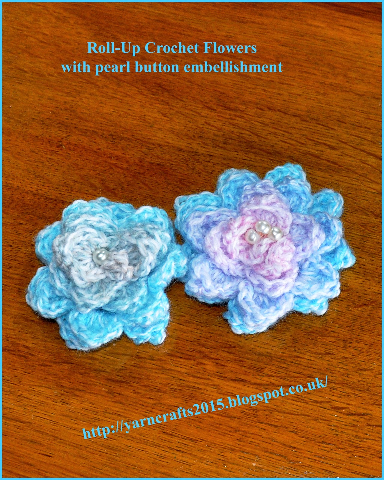 my roll-up crocheted flowers with pearl button embellishment