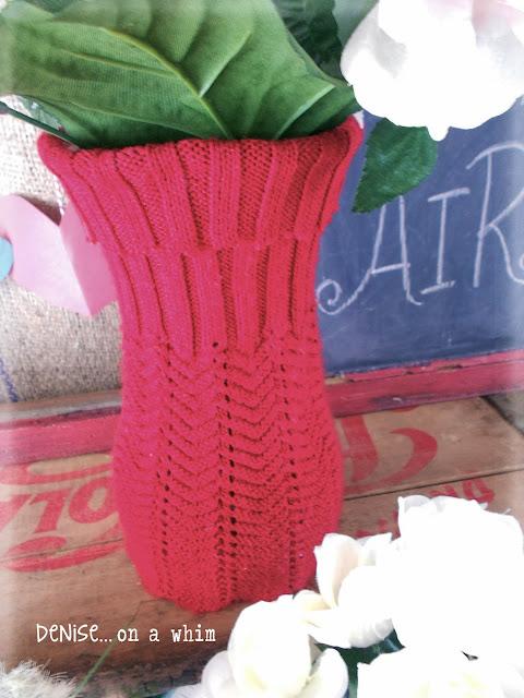 Upcycled Sweater Vases via http://deniseonawhim.blogspot.com