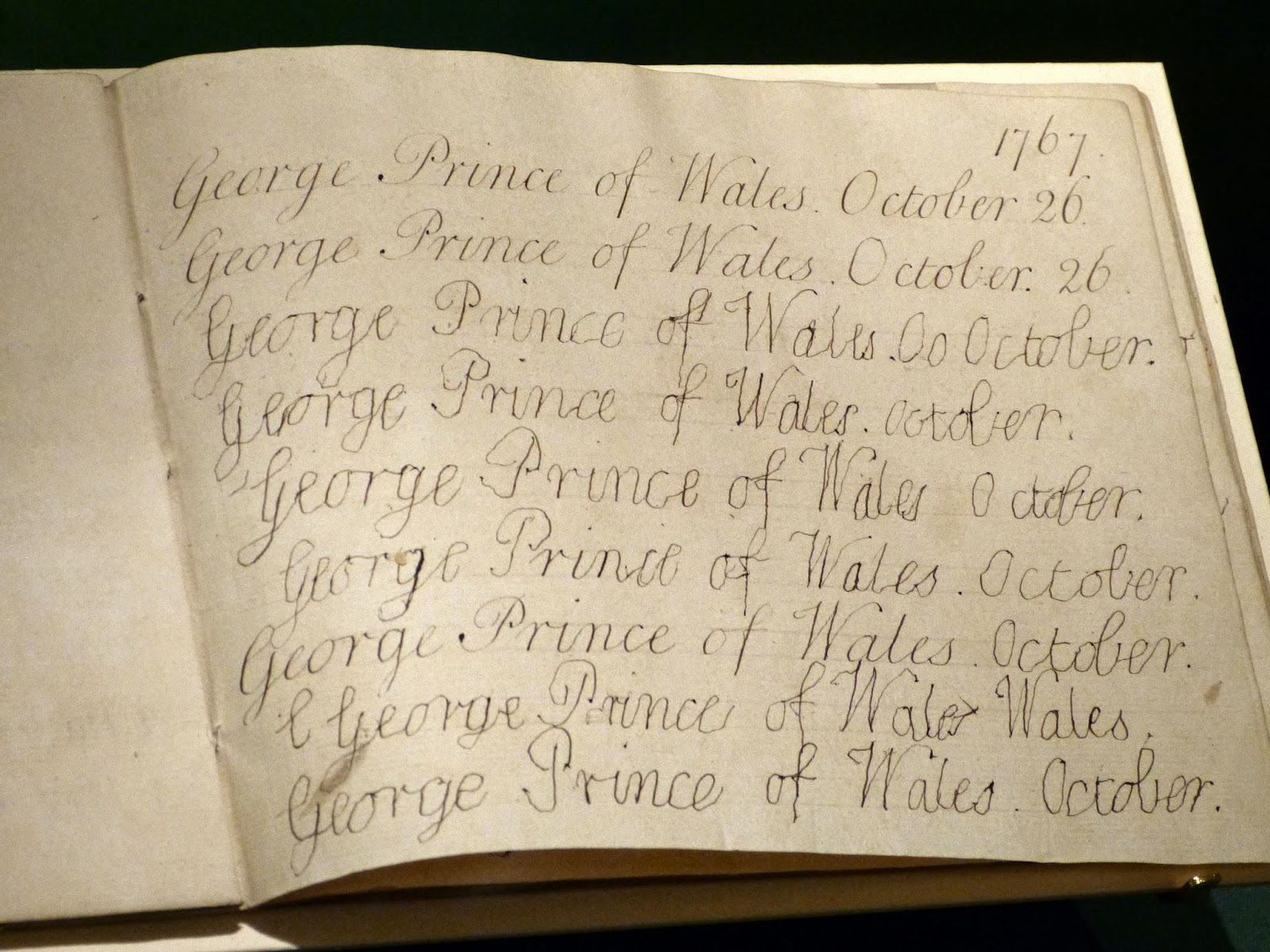 George IV's handwriting practice book (1767)