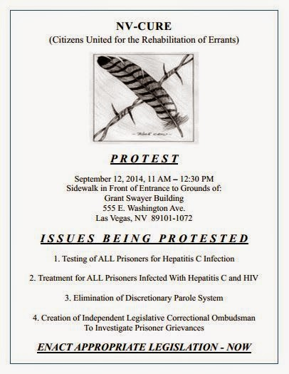 Sept.12th Demonstration: NV-CURE Protest is tomorrow 9/12/14 11AM, 555 E.Washingt Ave,LasVegas