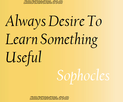 """Always desire to learn something useful."" - Sophocles"